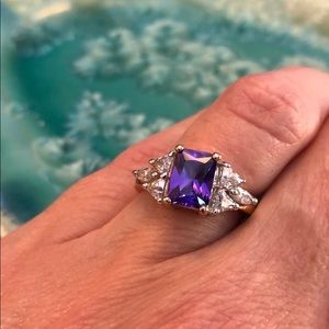 Purple and Clear Stone Ring